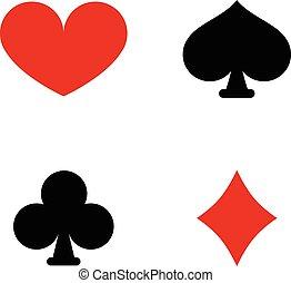 símbolos, cartão jogando, paleto