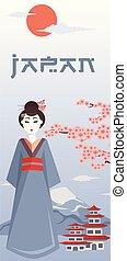 símbolos, cartel, japonés