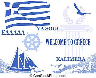 símbolos, cartel, viaje, grecia