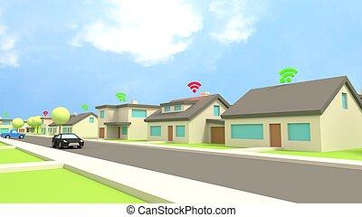 símbolos, casas, inseguro, wifi, vizinhança
