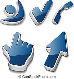 símbolos, checkmark, cursor, teléfono, vector, humano, 3d