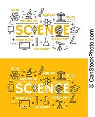 símbolos, ciência, educação, esboço