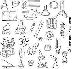 símbolos, ciência, esboço, educação