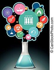 símbolos, ciência, infographic