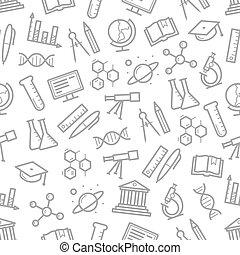 símbolos, ciência, vetorial, seamless, padrão