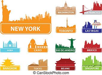 símbolos, cidade