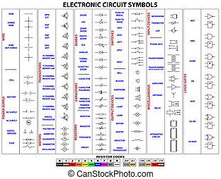 símbolos, circuito electrónico