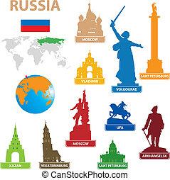símbolos, ciudad, rusia