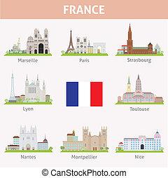 símbolos, ciudades, france.