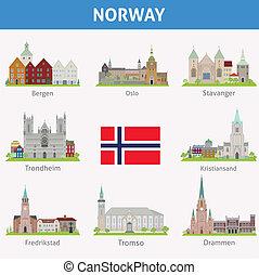 símbolos, ciudades, norway.