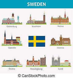 símbolos, ciudades, sweden.
