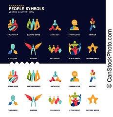 símbolos, cobrança, pessoas