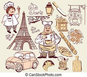 símbolos, colección, parís