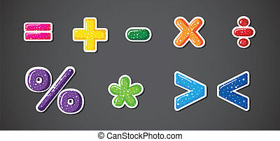 símbolos, colorido, señales