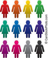 símbolos, coloridos, femininas