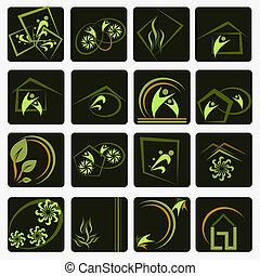 símbolos, compañía, conjunto