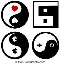 símbolos, conceitual, yang, yin