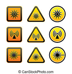 símbolos, conjunto, advertencia, peligro