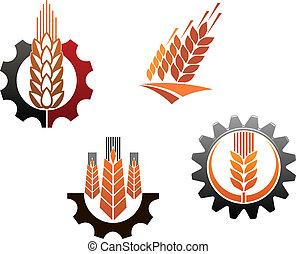 símbolos, conjunto, agricultura