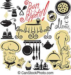 símbolos, conjunto, alimento, texto, cocina, -, siluetas, mano, jefe, escrito, bon, cuadros, dibujado, appetit