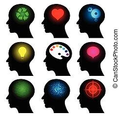 símbolos, conjunto cabeça, idéia, ícones
