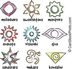 símbolos, Conjunto,  chakras