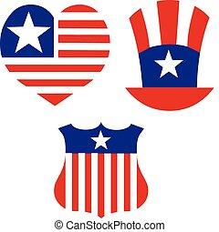 símbolos, conjunto, decorate., norteamericano, diseño, patriótico