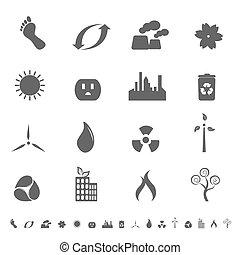 símbolos, conjunto, ecologic, icono