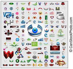 símbolos, conjunto, iconos