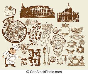 símbolos, conjunto, italiano
