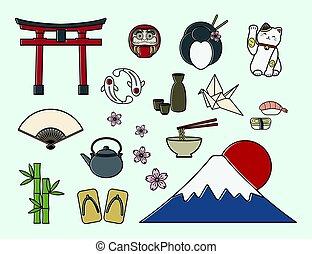 símbolos, conjunto, japonés