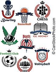 símbolos, conjunto, juegos, deporte, iconos