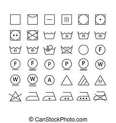 símbolos, conjunto, lavado