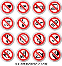 símbolos, conjunto, prohibido