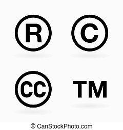 símbolos, conjunto, propiedad intelectual