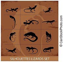 símbolos, conjunto, reptiles, colección, anfibios