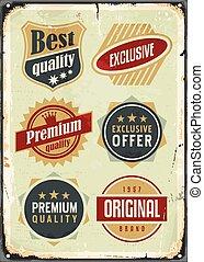 símbolos, conjunto, vendimia, etiquetas, promocional,...