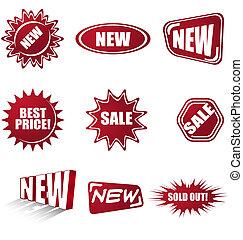 símbolos, conjunto, ventas