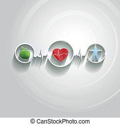 símbolos, conncected, conceito, cuidado saúde