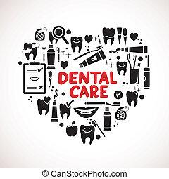 símbolos, coração, dental, forma, cuidado