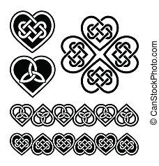 símbolos, coração, nó, -, celta, vetorial