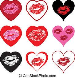 símbolos, corazón, beso, conjunto, vector