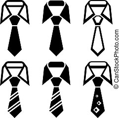 símbolos, corbata, vector, negro