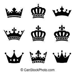 símbolos, corona, conjunto, silueta