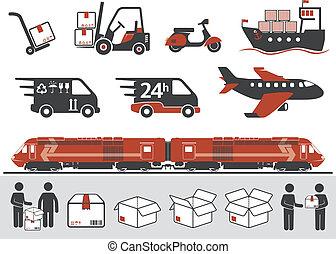 símbolos, correio, transporte