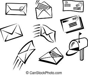 símbolos, correo, sobres