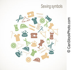 símbolos, cosendo