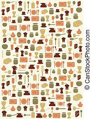 símbolos, cozinha, fundo
