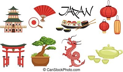 símbolos, cultura, conjunto, japonés