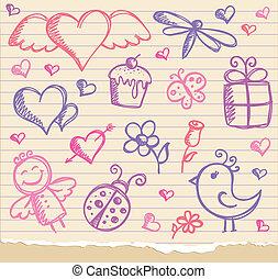 símbolos, día, valentino